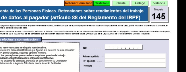 Resultado de imagen de Retenciones del trabajo: Modelo 145
